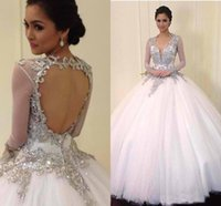 beach hollywood - Luxury New Beaded Crystal Hollywood Sheer Long Sleeves Wedding Dresses Court Train Backless Gown For Tonight Plus Size Brides Gown T073