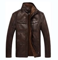 Wholesale 2016 High Quality Novelty Winter Leather Jacket Men PU Solid Leather Jacket Wool Button Male Suede Mandarin Collar Outwear Thick Coat