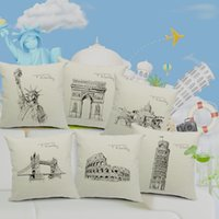 statues - Statue of Liberty World Landmarks Cotton and Linen Pillowcase Back Cushion Cover Throw Pillow Case for Bed Sofa Car Home Decor H14999