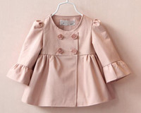 baby bow outwears - Free UPS Ship New Fashion Baby Girls Cotton Bow Trench Coats Kids Girl Autumn Style Flare Sleeve Bowknot Princess Outwear