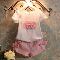 Cheap 2014 New baby girls clothing kids clothing sets children sets summer baby girls outfits T-shirts+hot pants kids clothes