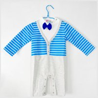 baby sleepsuits - striated baby romper set romper children gentleman sleepsuits two colors baby clothing