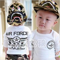 Wholesale 2105 Boy And Girls Caps Hats Baby Boy Hat Baby Girl Hat Kid Caps Kid Hat Chidlren Army Shark Printing Cpas Hats OA08