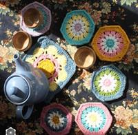 Wholesale handmade zakka style crochet flower pattern cupmat coaster