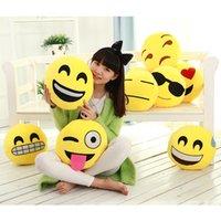 Wholesale 20pcs Styles Diameter cm Cushion Cute Lovely Emoji Smiley Pillows Cartoon Cushion Pillows Yellow Round Pillow Stuffed Plush Toy