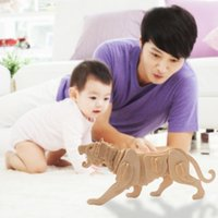 Wholesale Cute D Three dimensional Animal Wooden Tiger Style Jigsaw Puzzle Toys for Children Kid Handmade Wood Nice Gift order lt no track