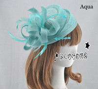 beige color hair - 15 Colors Bridal Hats High Quality Small Flower Sinamay Hats For Women Wedding Hair Accessories Feather Party Hats