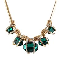 Wholesale Costume Jewelry Luxury Blue and Green Water Drop Design Created Crystal Necklace for Girl and Women