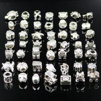 Wholesale 2015 Pandora silver DIY Beaded Jewelry Accessories Alloy Big Hole Loose Beads Handmade Bracelet Necklace YHUN