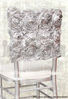 chiavari chair - Silver Satin Rosette Chiavari Chair Hoods Chair Caps Wrap Tie Back Chair Sash For Wedding Event amp Party amp Banquet
