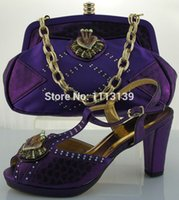african style bags - New Style of Women Italian shoes with bags to match in Purple Fashion African shoes and bag sets for party dresses ME0021