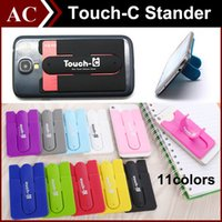 Wholesale Universal Portable Finger Touch with Card Slot Holder Stander Sticker Bracket Mounts Stents Silicone For iPhone Samsung Cellphone Tablet