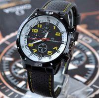 Precio de Gifts-GT Grand Touring Hombres Relojes Quartz Sports Relojes de pulsera Hombre Silicona Reloj Watchband Reloj Militar Hombres Regalos de Navidad
