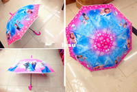Wholesale New Arrive Frozen student Umbrella Princess Elsa Anna Sweet Pink Color Frozen Folding Umbrella Frozen Sunny and Rainy Umbrellas Hanging