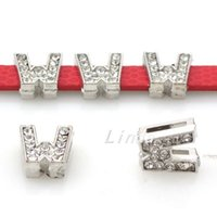 bead letter w - 50pcs Ho Sale DIY Slider Alphabet Letter W Bead Full Rhinestone Charms For mm Belt Bracelets