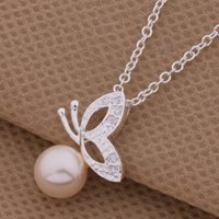 animal tracking - with tracking number Best Most Hot sell Women s Delicate Gift Jewelry Silver Pearl Butterfly Necklace
