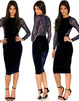 Wholesale Women s Apparel Sexy Lady Casual Dresses Velvet Lace Long Sleeve Midi Dress