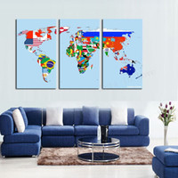 Cheap 3 Panel Modern Wall Art Home Decoration Frameless print Painting On Canvas Pictures Beautiful World Map For Living Room Dector