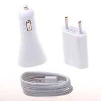 Wholesale White Color V A USB Wall Travel Charger and USB Data Sync Charging Cable for Iphone Car cargador coche Adapter in Set
