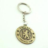 Wholesale Fashion Hot Soccer Club Keychain Sports Metal Two side AC Milan Key Holder Vintage Key Chains Keyring Pendant
