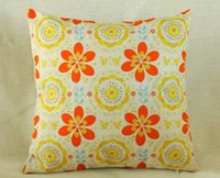 Wholesale 45x45cm ikat Cushion Cover Country Style Vintage Floral Printed Throw Pillow Case Home Decorective Cover Zip