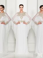 Cheap 2015 Arabic Dubai ABAYA KAFTAN white Arrival Zuhair Murad Muslim Dress Poet Long Sleeve With Beaded Chiffon Evening Dresses formal gowns