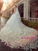 Autumn/Spring latest bridal wedding gowns - 2016 Latest Wedding Dresses Sweetheart Crystals Beads D Flowers A Line Chapel Long Train Luxury Princess Bridal Gowns Cheap Customed