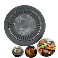 Wholesale Non Stick Healthy Indoor Cooking Tool Smokeless Barbeque Grill Tray Surface Iron Pans Round Roasting Pans JE0032