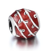 background fit - 925 Sterling Silver Red Striped Background Clear Shape of Beads European Charm fit pandora Bracelet Charming Snake Chain Jewelry