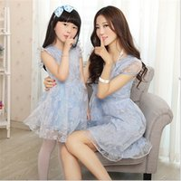 Wholesale Mother and Daughter Clothes Summer Dresses Family Clothing Print Floral Organza Midi Dresses Matching Mother Daughter Clothes Hot Sale