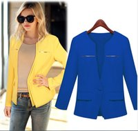Wholesale quot ZA quot Spring Autumn New Brand Women Fashion A Botton Small Suit Coats Ladies Sexy Deep V Neck Blazers Girls Long Sleeve OL Jackets Surcoat