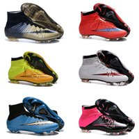 Wholesale 2016 Botas de futbol superfly FG football boots new men soccer shoes high ankle Savage Beauty soccer cleats blackout all pink grey