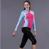 pink jersey - Spring and autumn women cycling jerseys set full sleeves jersey with seventh pants S M L XL XXL XXXL pink