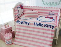 Wholesale Cartoon Hello kitty baby bed set with piece bumper sets China price