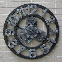 Wholesale Bar decorate the living room wall clock modern minimalist retro gear creative home large round wood clocks D Roman numerals