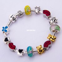 asia alloys - Valentines Day Asia European Popular Silver Love Charm Bracelet Bangle for Women With Murano Glass Beads Fashion Bijouterie PA1053