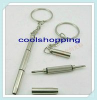 Wholesale 1000pcs DHL mini screwdriver multi functional screwdriver keychain mobile glasses and watch repair tool