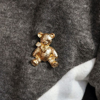 Wholesale Cute Bear Brooch Gold Plated Pins Bijoux Popular Fine Collar Jewelry Top Women Girls Unique Accessories
