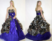 purple plus size wedding dresses - 2015 Spring Summer Camo Wedding Dresses Purple Draped Bog Bow Knot Sweetheart Ball Gown Bridal Gowns Plus Size Custom Made Wedding Gowns A65