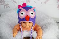 Girl Spring / Autumn Crochet Hats Free Shipping Crochet Pattern OWL Bow Knitted Hat Baby Girls Cartoon Animal Cap Newborn Infant Toddler Kids Hat Winter Crochet Beanie Cotton