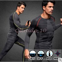 Wholesale 1set CCA3390 Colors Men Sport Long Sleeve Base Layer Gym Compression T shirts Men Bodybuilding Fitness Jersey Clothing Tights Sports Set