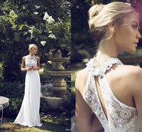 Wholesale 2015 Riki Dalal Wedding Bridal Gown Romantic Sheer Halter Neck Floral Illusion Lace Empire Chiffon Summer Garden Wedding Dresses
