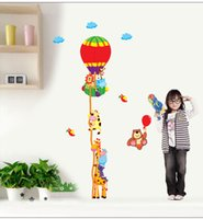 balloon measure - 2015 New Fire Balloon PVC Wall Stickers Giraffe Growth Chart Height Measure for kids Rooms Decoration Wall