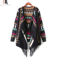 aztec pattern sweaters - Black Hem Tassel Knitted Wear Long Sleeve Tribal Aztec Folk Geometric Pattern Wide Lapel Sweater Autumn Women Cardigan