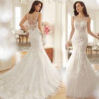 velvet flower - 2015 Fashion Vintage Lace Mermaid Wedding Dress Train Vestidos Sexy Plus Size Wedding Gown Bridal Dress Casamento