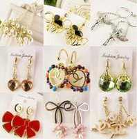 mixed colours cloisonne earrings - 2015 NEW Unique Design Korean Style Exquisite Diamond Earring Charm Stud Free Delivery