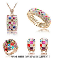 Wholesale Jewelry Sets Fashion Swarovski Element Crystal K White Gold Plating Earrings Necklace Bangle Ring Stunning Queen Coming