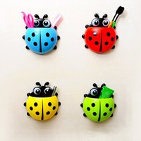 Wholesale New Design Cartoon Toothbrush Holder Color Cute Ladybug Sucker Suction Hook Bathroom Accessories Set