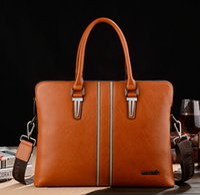 Wholesale 2016european mens briefcase man bag business dress genuine leather briefcase brand name handbags black solid color computer bags for man