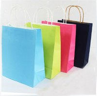 Cheap Free shipping 21*11*27.5(CM) cheap kraft paper gift bag with handles purple shopping bag for gift 100pcs lot